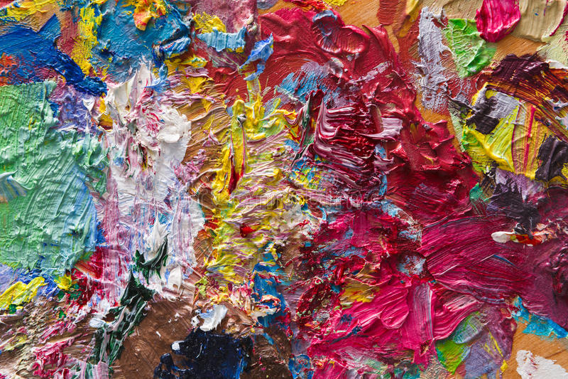 Paleta z kolorową mieszaną farby teksturą zdjęcia stock