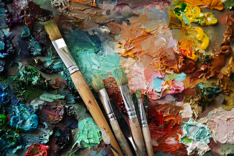 Paleta z paintbrush i nożem obrazy royalty free