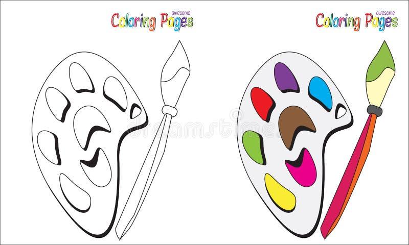 Palett för sida för färgläggningbok royaltyfri illustrationer