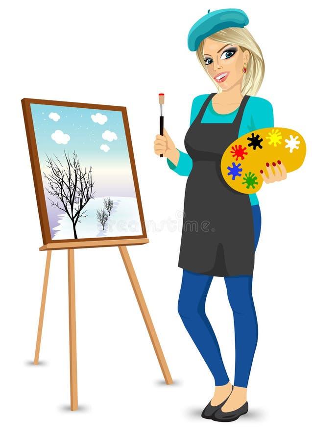Palett och borste för kvinnlig målarekonstnär hållande royaltyfri illustrationer