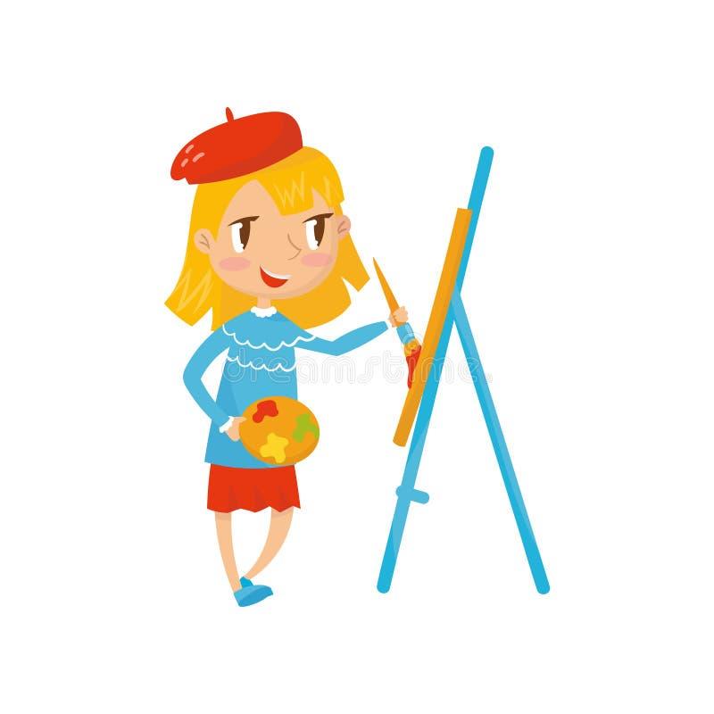 Palett och målning för tecknad filmflickatecken hållande på kanfas Barnet önskar att vara målaren Framtida karriär som drömmer be stock illustrationer