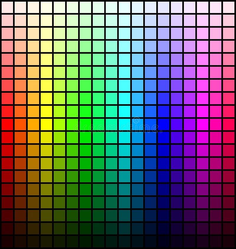 Palett, ton och ljusstyrka för färgspektrum, på svart bakgrund vektor royaltyfri illustrationer