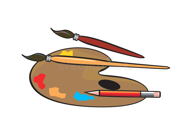 Download Palette stock vector. Image of pencil, brushes, orange - 3309570