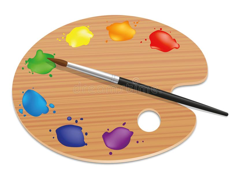 Palette Artists Painting Wood Board Colors. Artists palette. Painting wood board with different colors and a paintbrush. Isolated vector illustration on white royalty free illustration