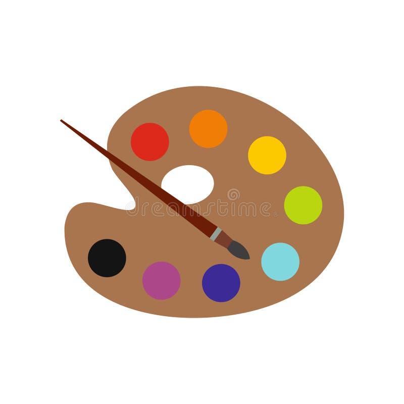 Palette avec l'icône plate de brosse illustration de vecteur