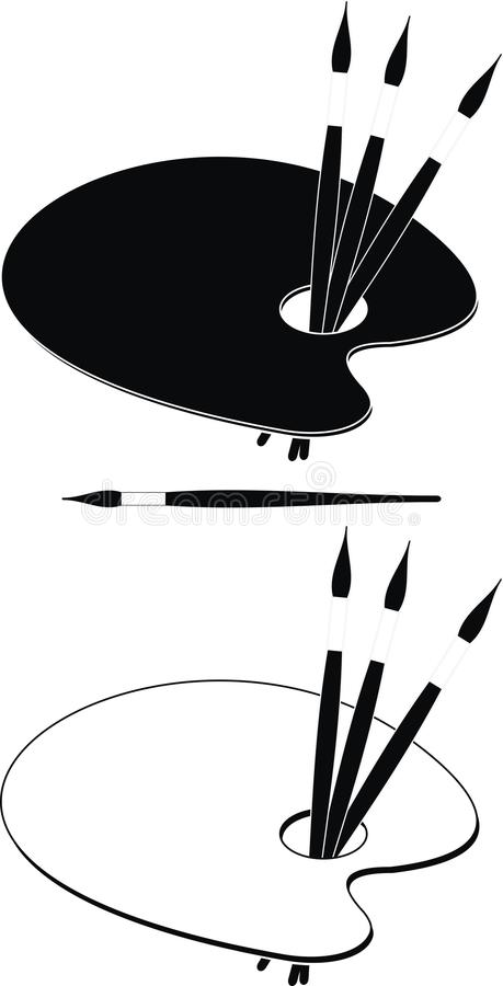 Download Palette Black And White Paint Brushes Stock Vector