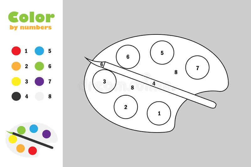 Palette in cartoon style, color by number, education paper game for the development of children, coloring page, kids. Preschool activity, printable worksheet stock illustration
