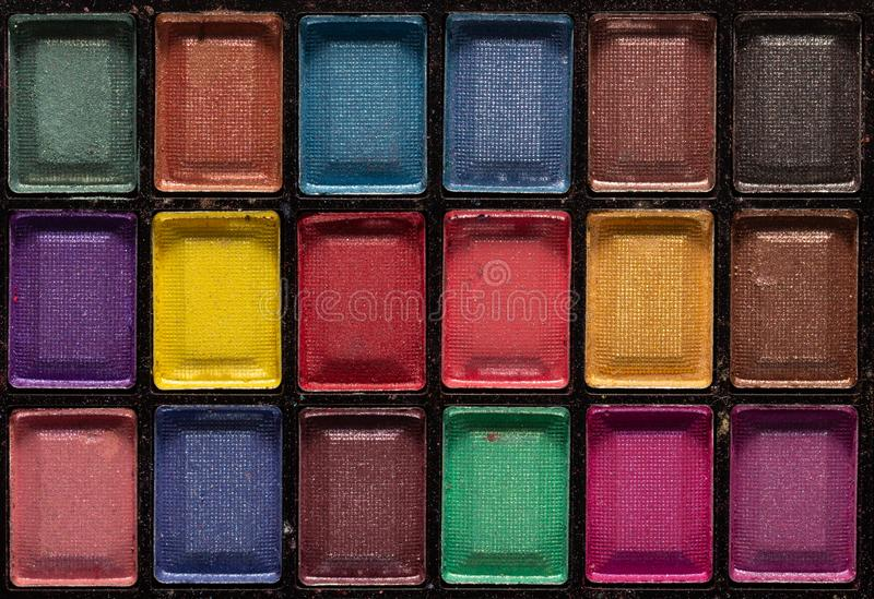 Palette color?e d'ombres d'oeil Fond de maquillage Fin vers le haut image stock