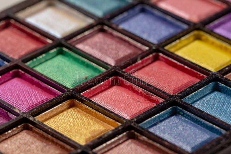 Palette color?e d'ombres d'oeil Fond de maquillage Fin vers le haut photos stock