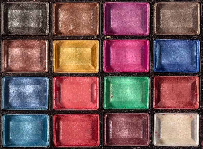 Palette color?e d'ombres d'oeil Fond de maquillage Fin vers le haut images libres de droits