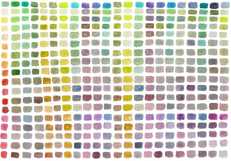 Palette d'aquarelle avec des rectangles colorés Fond peint à la main abstrait multicolore illustration libre de droits