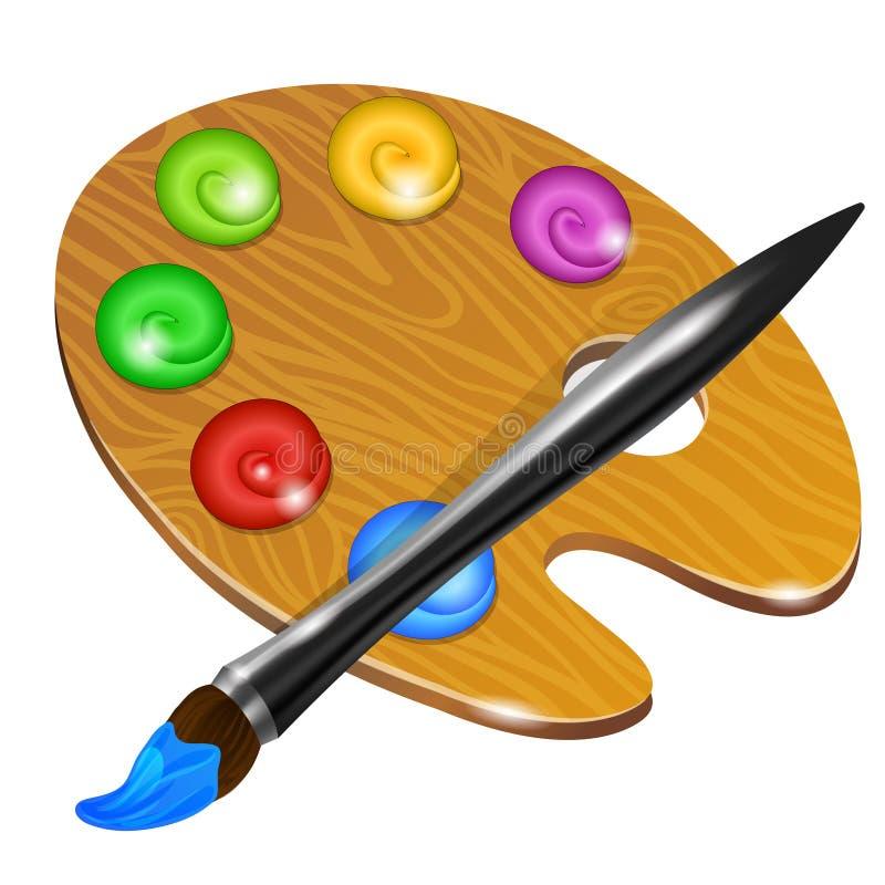 Palette d 39 art avec le pinceau pour le dessin illustration for Manche d un pinceau