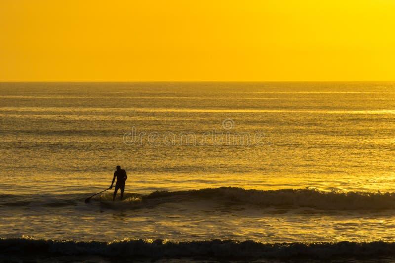 Palette d'homme surfant au lever de soleil photo stock