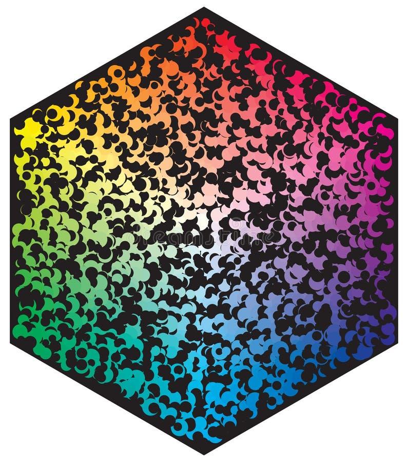 Palette de couleurs de vecteur Beaucoup de diff?rents cercles de couleur dans la forme du mod?le d'hexagone illustration de vecteur