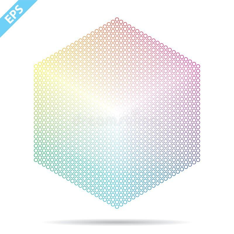 Palette de couleurs de vecteur 1261 couleurs diff?rentes en petits cercles dans une forme d'hexagone illustration stock