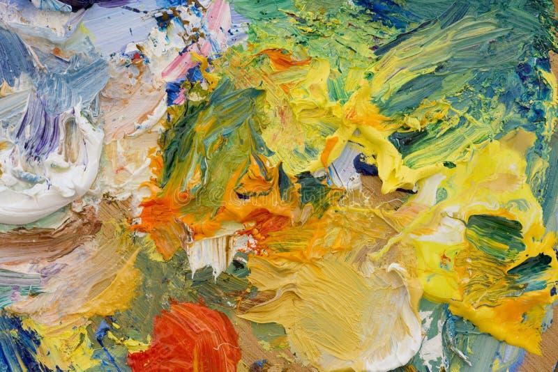 Palette de peinture à l'huile d'artistes image stock