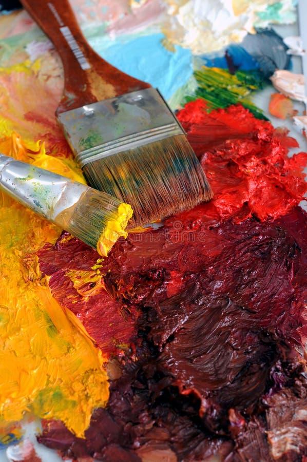 Palette de peinture à l'huile d'artistes photos libres de droits