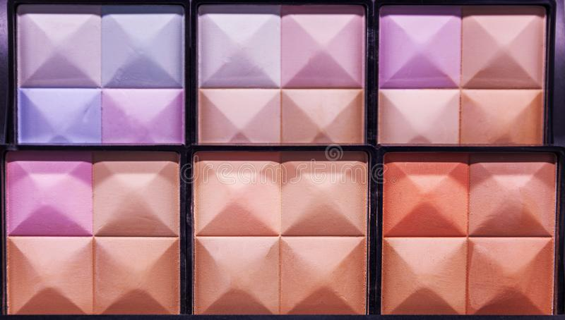 Palette of decorative cosmetics, close-up stock images