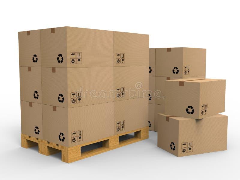 Palette en bois avec des boîtes en carton sur le fond blanc illustration 3D images stock