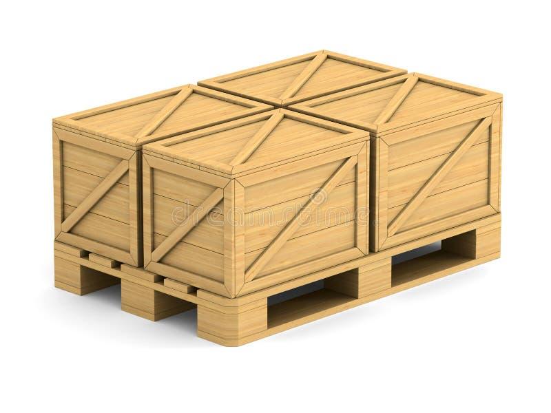 Palette en bois avec la boîte de cargaison sur le fond blanc 3D d'isolement IL illustration stock