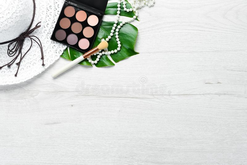 Palette Eyeshadow Maquillage Vue supérieure image stock