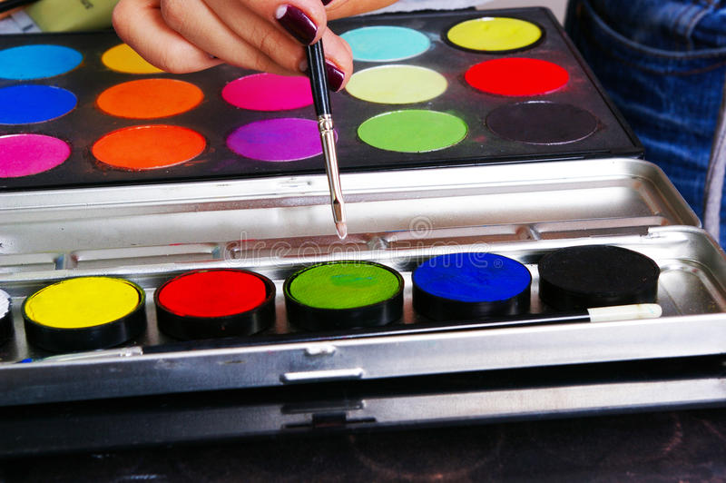 Download Palette of a grease paint stock image. Image of colors - 12143513