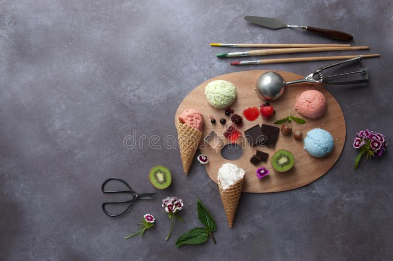 Palette of ice cream flavours concept stock images