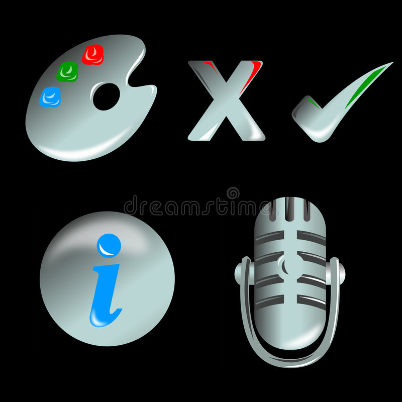 Palette, info and mic web icon. Illustration on web and application icons isolated black background showing a palette, done and cancel, information and stock illustration