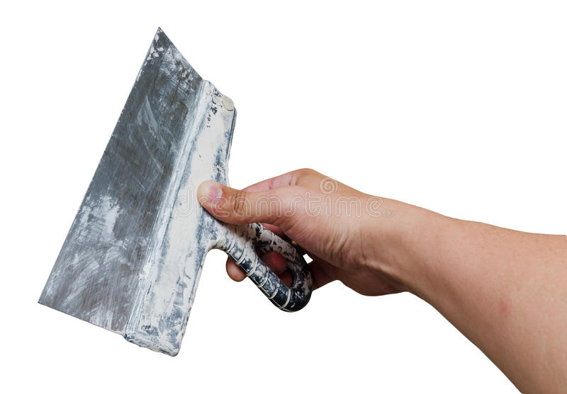 Palette-knife in hand stock image