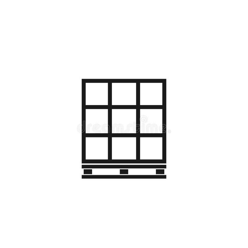 Palette mit Kastenentwurfsikone stock abbildung