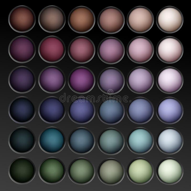 Palette multicolore ronde de fards à paupières de vecteur illustration de vecteur