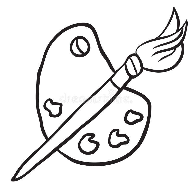 Palette noire et blanche de peintres de bande dessinée illustration stock