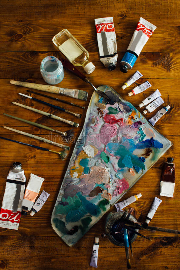Palette of oil paints stock image