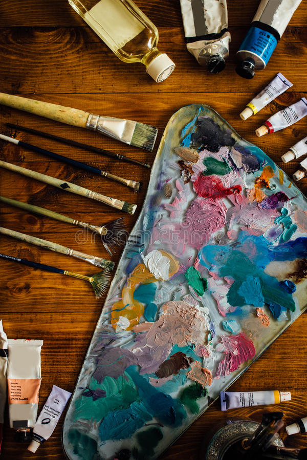 Palette of oil paints royalty free stock photos