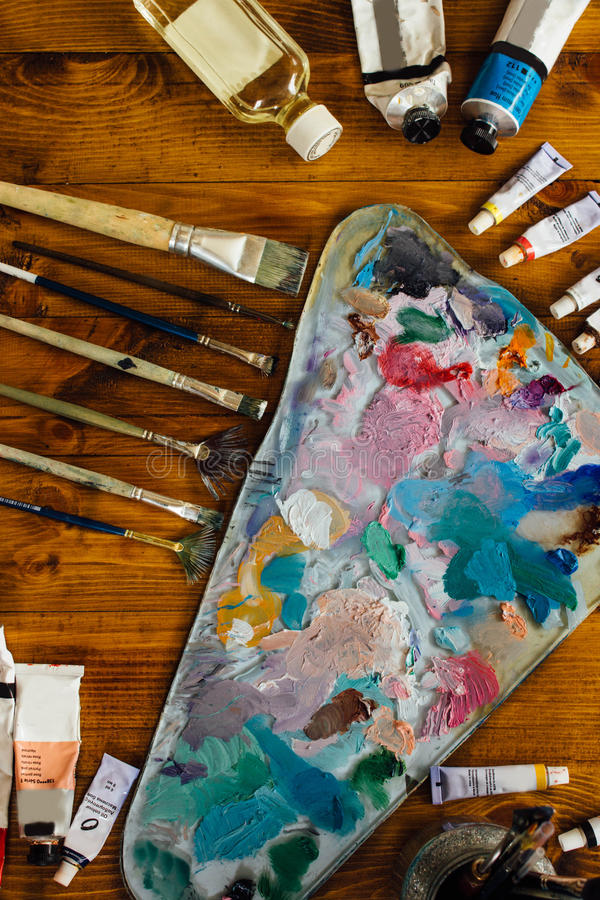 Palette of oil paints royalty free stock images