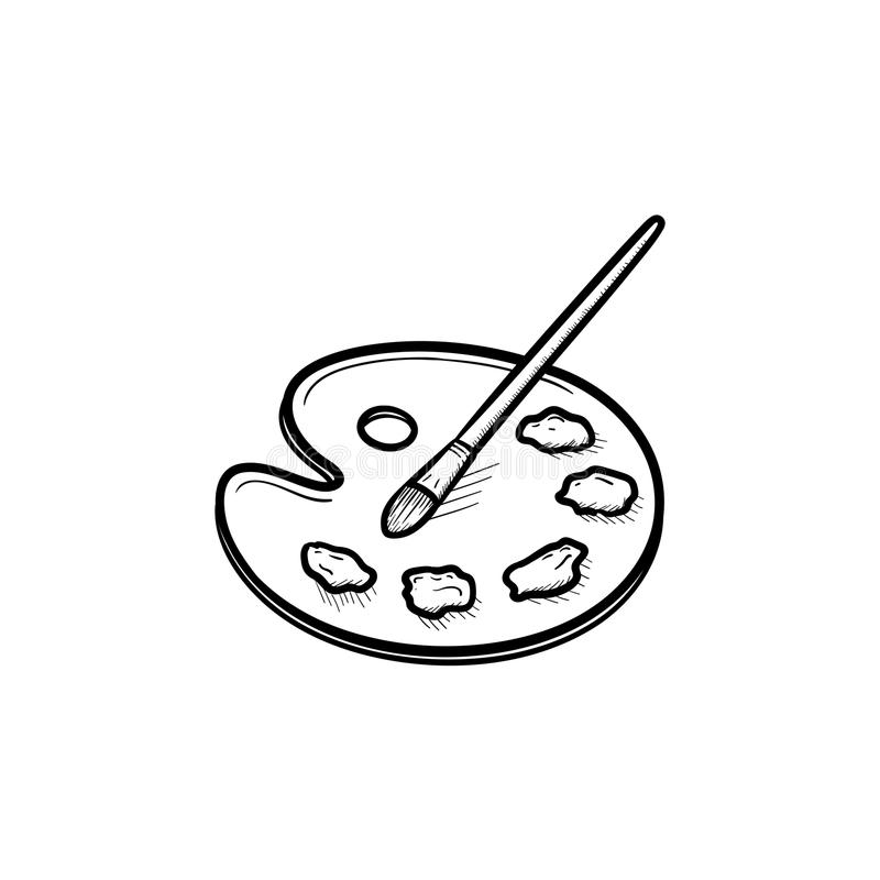 Palette with paint brush hand drawn sketch icon. vector illustration