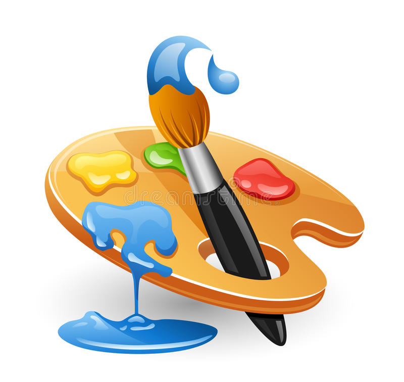 Palette and paintbrush. stock illustration