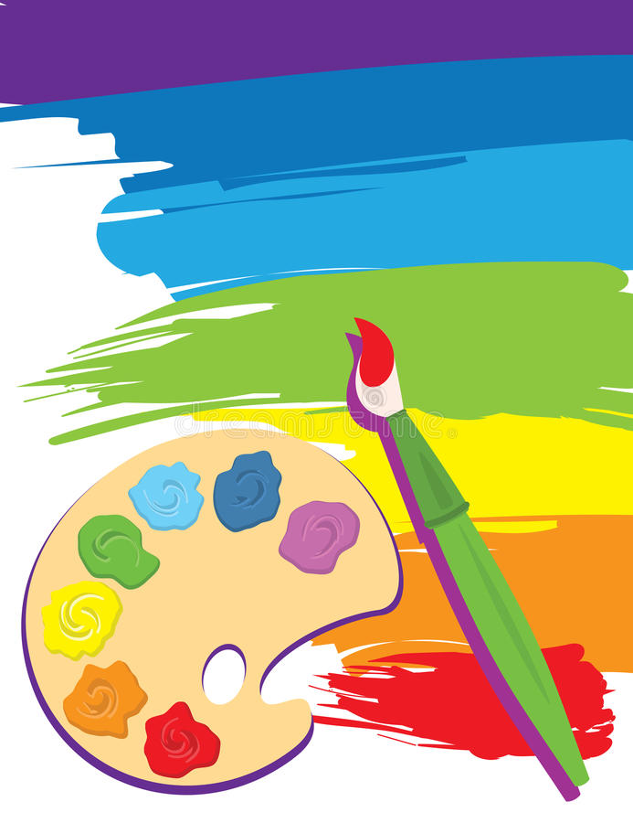 Palette, paintbrush and canvas vector illustration