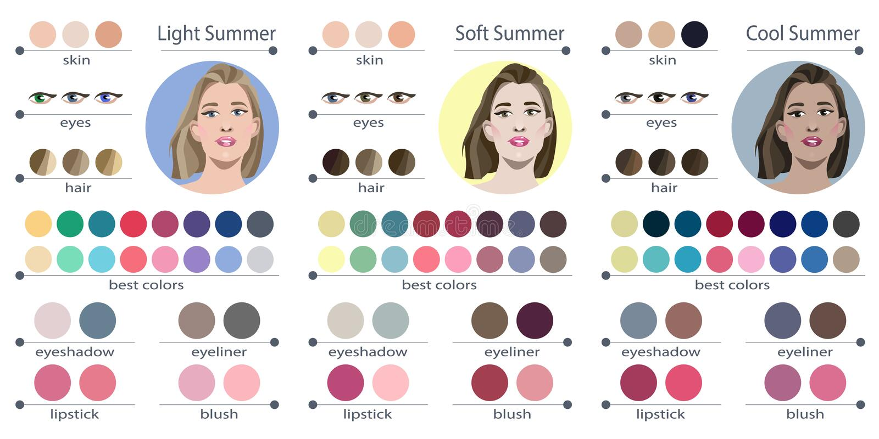 Palette saisonnière d'analyse de couleur pour l'été doux, léger et frais Les meilleures couleurs pour le type d'été d'aspect feme illustration libre de droits