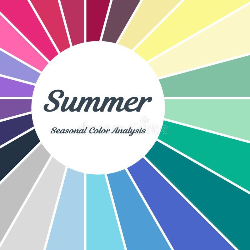 palette saisonnière d'analyse de couleur pour le type d'été Type d'aspect femelle illustration libre de droits