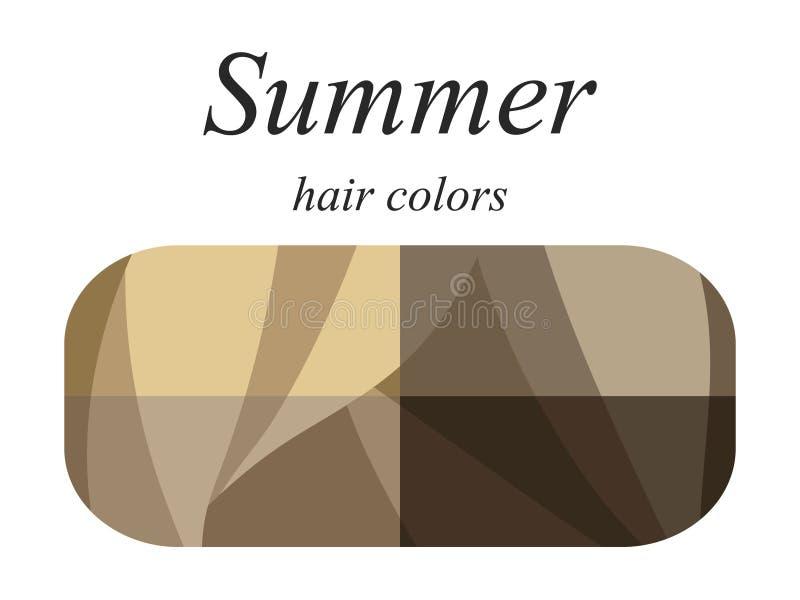 Palette saisonnière d'analyse de couleur pour le type d'été d'aspect femelle Couleurs de cheveux pour le type d'été illustration stock
