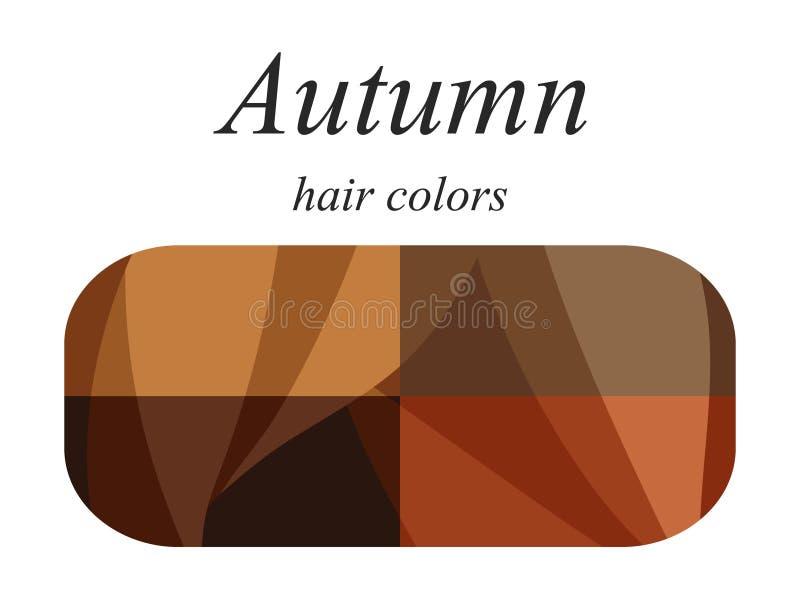Palette saisonnière d'analyse de couleur pour le type d'automne d'aspect femelle Couleurs de cheveux pour le type d'automne illustration stock