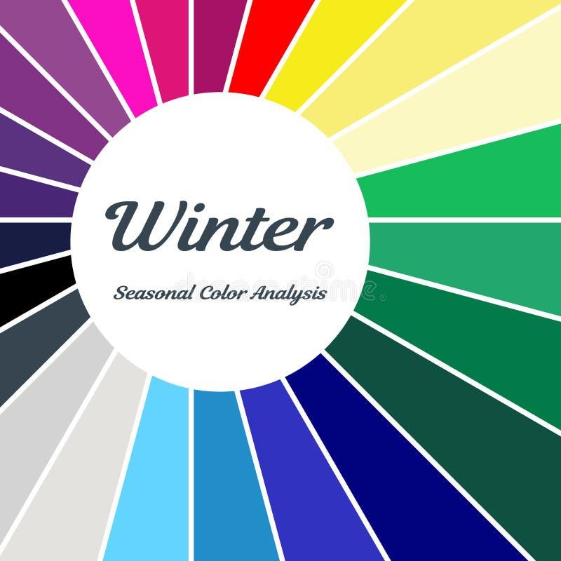 palette saisonnière d'analyse de couleur pour le type d'hiver Type d'aspect femelle illustration stock