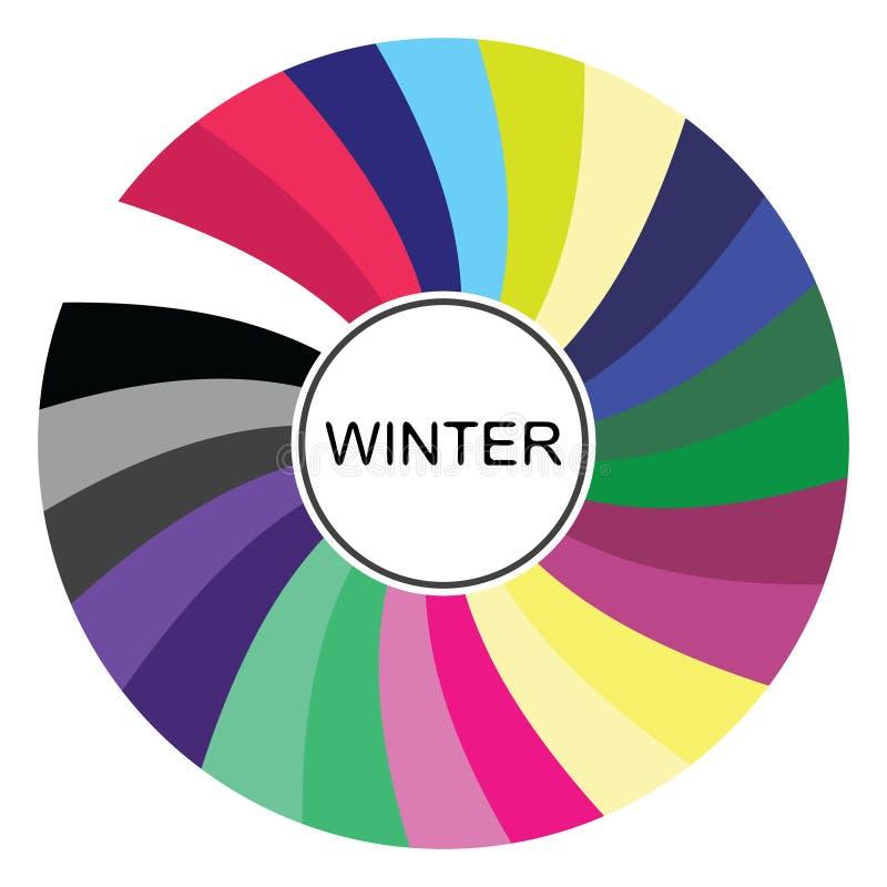 palette saisonnière d'analyse de couleur pour le type d'hiver Type d'aspect femelle illustration libre de droits