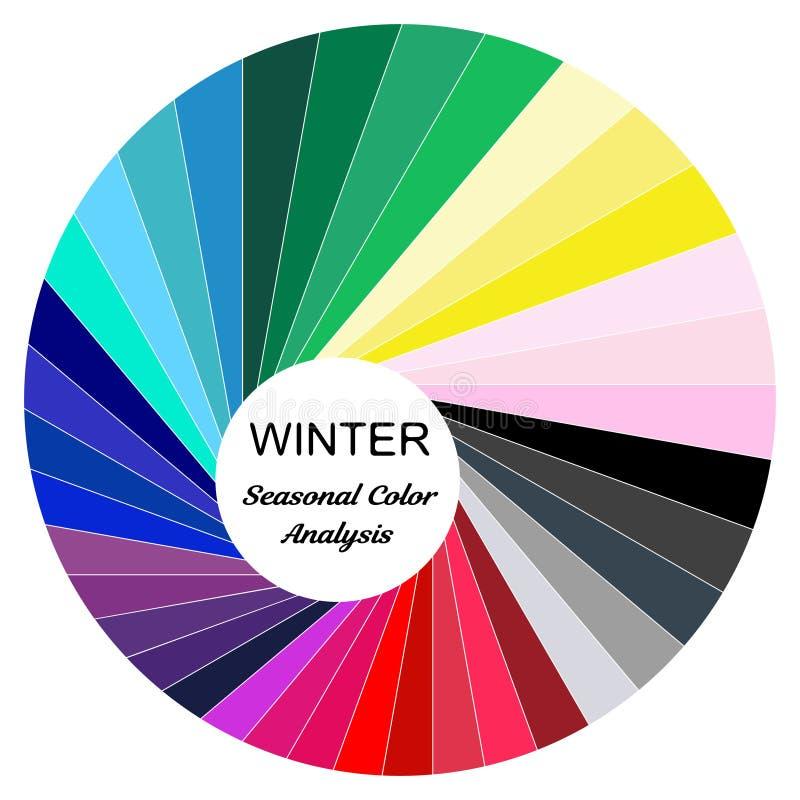 palette saisonnière d'analyse de couleur pour le type d'hiver Type d'aspect femelle illustration de vecteur
