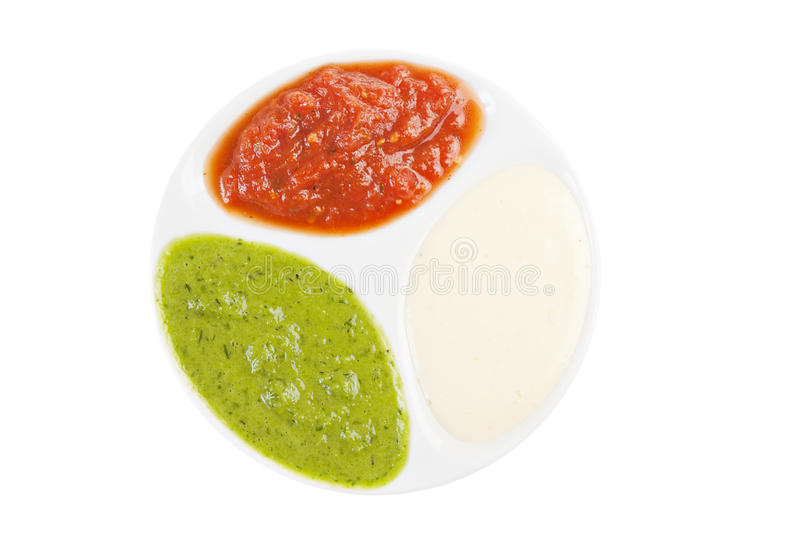 Palette of sauces stock photos