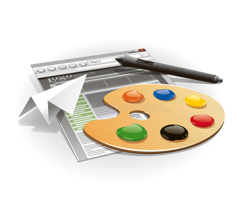 Palette and tablet pen royalty free stock photography