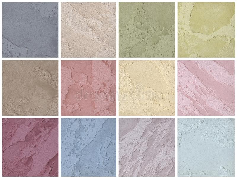 A palette of textures of colored travertine is a decorative covering for walls royalty free stock photography