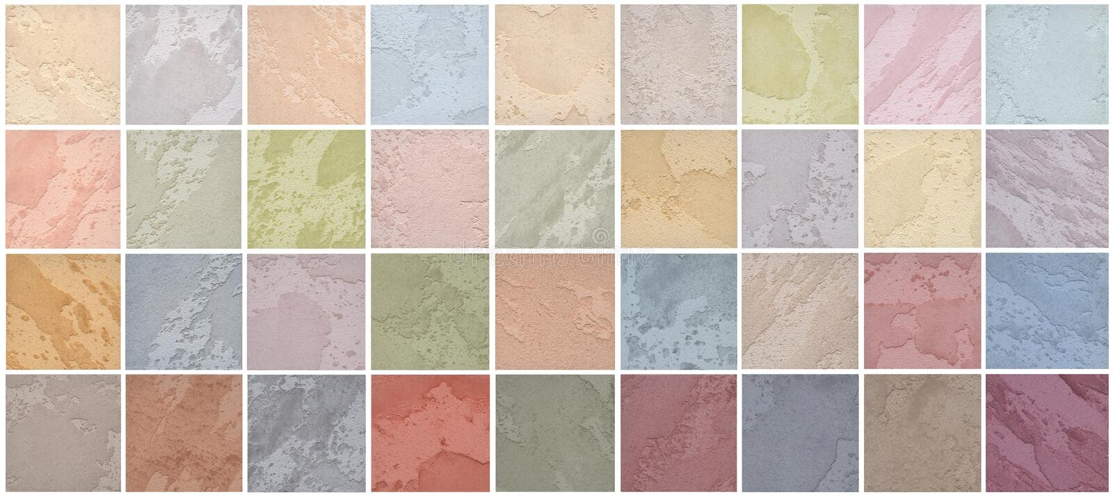 A palette of textures of colored travertine is a decorative covering for walls royalty free stock image