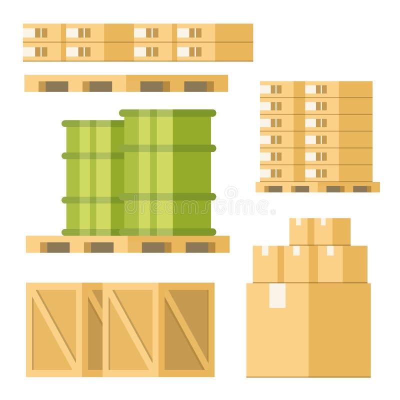 Palette Tray Set de baril de boîte d'équipement de livraison illustration stock